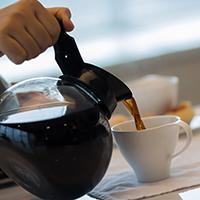 Coffee in kettle boiler pot.